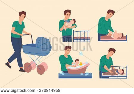 Dad Takes Care Of The Baby: He Walk With A Child, Changes The Diaper For The Baby, Bathes Him In The