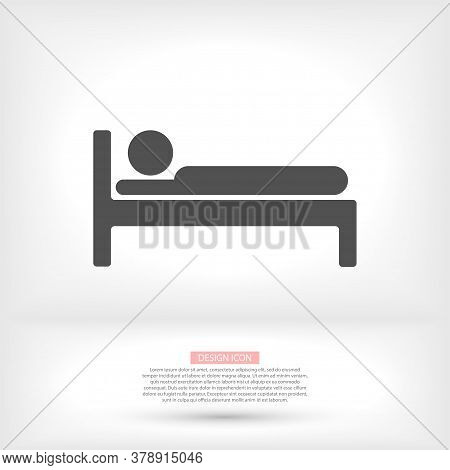 Bed Icon Vector. Simple Flaticon. Perfect Black Pictogram Illustration On A White Background