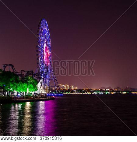 Suzhou Ferris Wheel China Jinji Lake Moon Harbor Suzhou 2012 Nightscape