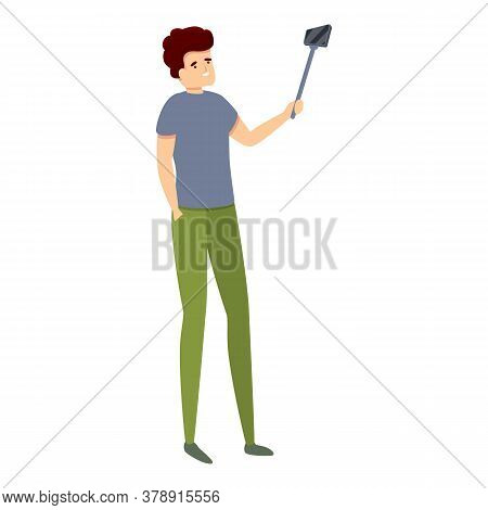 Man Sightseeing Selfie Stick Icon. Cartoon Of Man Sightseeing Selfie Stick Vector Icon For Web Desig