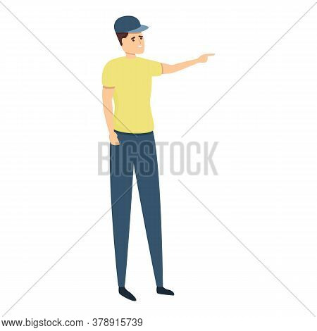 Boy With Baseball Cap Sightseeing Icon. Cartoon Of Boy With Baseball Cap Sightseeing Vector Icon For
