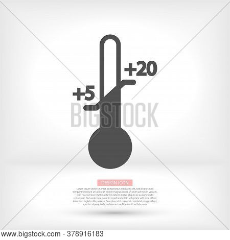 Thermometer Vector Icon With Measuring Ruler. Simple Sign Of Temperature. Vector Icon Measuring Weat