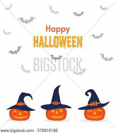 Happy Halloween Background, Pumpkin. Postcard For Party And Sale. Autumn Vacation. Cute Pumpkins In