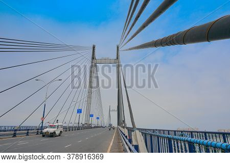 Kolkata, West Bengal, India - 21st June 2020 : Cables Of 2nd Hoogly Bridge, Kolkata, West Bengal, In