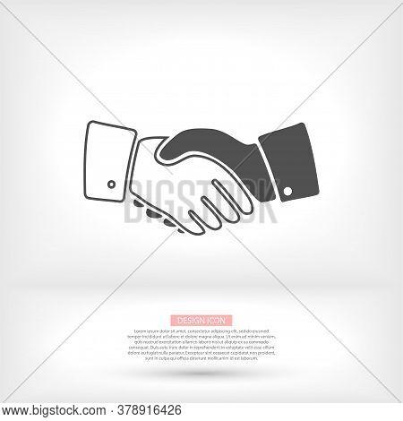 Handshake, Deal, Vector Vector Partnership Icon In Trendy Flat Style Design. Vector Vector Graphic I