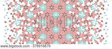 Geometric Arabesque Halftone Texture With Color Tile Disintegration. Living Coral Color Arabesque Ve