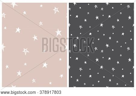 Tiny Stars Vector Patterns. Irregular Hand Drawn Simple Starry Sky Print For Fabric, Textile, Wrappi