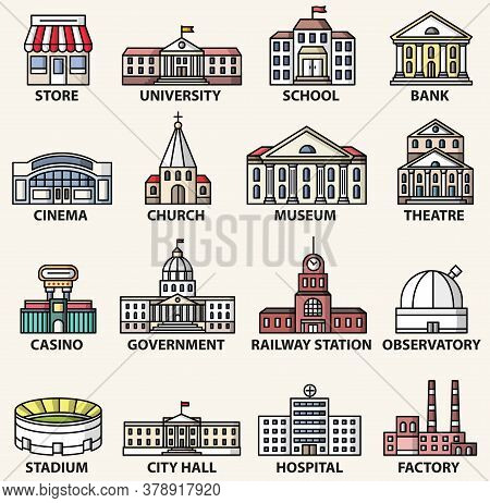 Government Buildings Icons Set. Vector Isolated Colorful Flat Style Illustrations