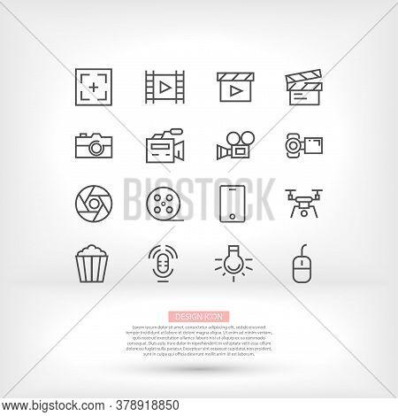 Vector Video Multimedia Movie Camera Illustration Sign Line Quadrocopter Phone Popcorn