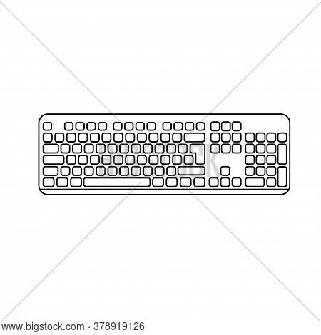 Computer Keyboard On White Background. Modern Pc Keyboard. Vector Illustration.