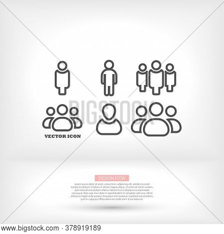 Businessman Vector Icon Style Many Linear People.