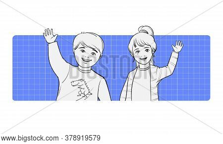 A Boy And A Girl Of Primary School Age Wave And Smile Happily