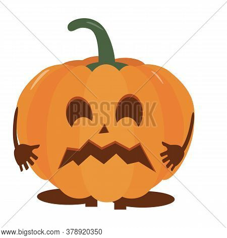 Pumpkin Halloween Holiday. Halloween Pumpkin, Funny Scared Face. Isolated Vector Sign Symbol. Autumn