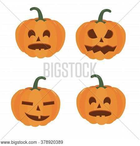 Pumpkin Halloween Holiday. Set Of Halloween Pumpkins, Funny Scared Faces. Isolated Vector Sign Symbo