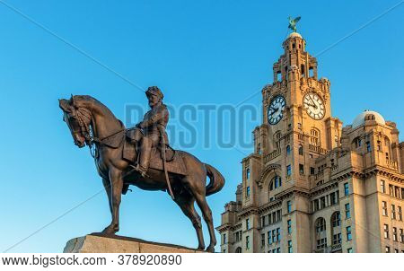 Liverpool historical architecture with Statue of EDWARD VII in city center in England in United Kingdom