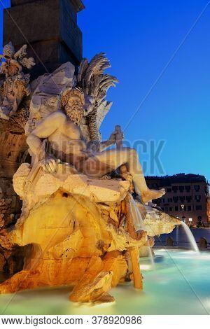 Fontana dei Quattro Fiumi in Piazza Navona in Rome, Italy.