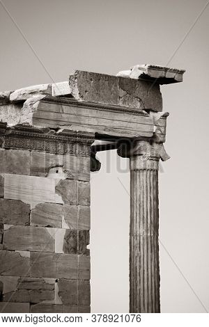 Erechtheion Temple in Acropolis in Athens, Greece.