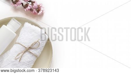 Care Products Lotion, Plant. Bath Accessories On White Background, Top View, Copyspace, Banner. Body