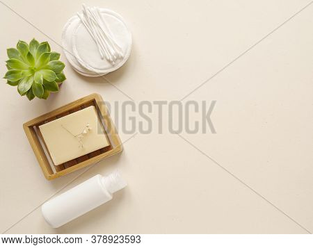 Care Products Lotion, Cream, Soap. Bath Accessories On Bright Background, Top View, Copyspace. Bodyc