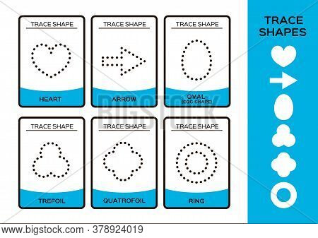 Trace Shapes. 2d Baisc Geometrical Shapes For Children. 6 Flashcards. Handwriting Practice. Learning