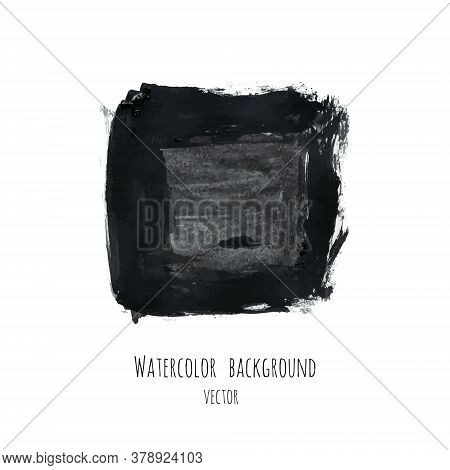 Dark Gray Vector Ink Watercolor Hand Painted Texture Background Isolated On White. Abstract Acrylic