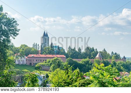 Panoramic View Of The Fortified Benedictine Abbey In Jaroslaw, Poland.