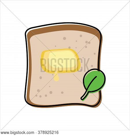 Toast With Melted Butter And Green Spinach Leaf - Top View. Simplified, Outline Color Filled Vector