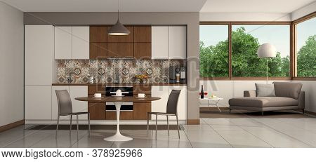 Living Room With Modern Kitchen , Round Dining Table And Chaise Lounge On Background - 3d Rendering