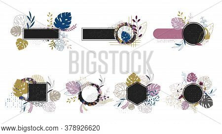 Floral Frame For Label Tags With Natural Elements. Leaves, Blades Of Grass And Twigs. Grunge Abstrac
