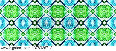 Tie Dye Pattern. Hand Drawn Shibori Print. Blue, Green, Red Ink Background. Modern Batik Tile. Geome