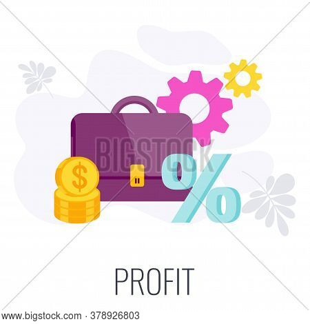 Profit Icon. Advertising Budget. Strategy, Management And Marketing. Briefcase With Money. Profitabl