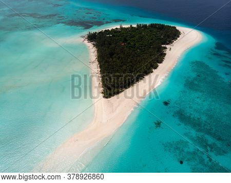 Aerial View Of Picturesque Mnemba Atoll In Zanzibar - The Famous Spot For Snorkeling And Boat Tour