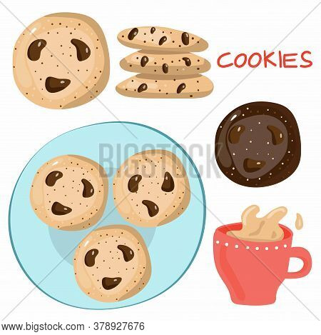 Coffee And Cookies Set. Cup Of Tea With Milk And American Oatmeal Cookies With Chocolate. Food And D