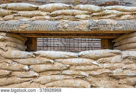 Sandbag Wall With Shooting Hole