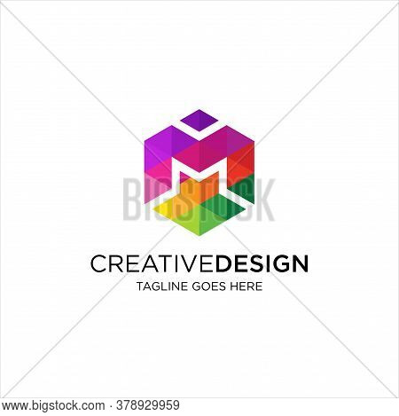Letter M Hexagon Logo Design Vector. Colorful Letter M Logo Vector Template. Letter M Logo Media Web