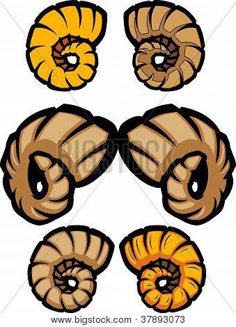 Variety of Vector Cartoon Ram Horn Illustrations poster