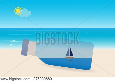 Sailboat In A Bottle With Seascape, Sun And Sky