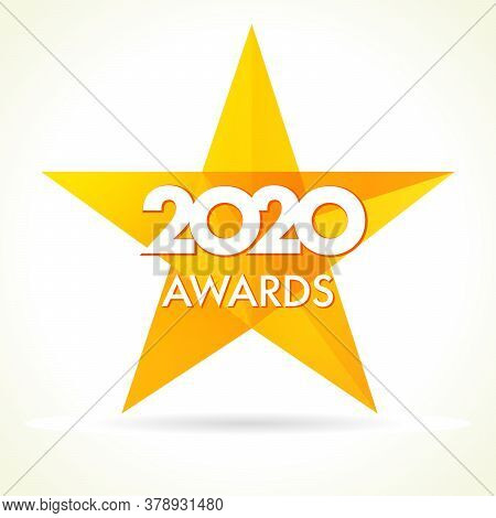2020 Awards Logo Yellow Star. Vector Golden Facet Star Label Award 20 20 On White Background