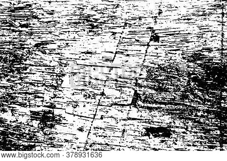 Dark Weathered Wooden Surface. Black Vector Texture On Transparent Background. Grunge Timber Board.