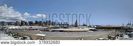 Aerial View Of The Honolulu Port And Downtown Skyline With Landmarks Aloha Tower, Nimitz Highway, Cr
