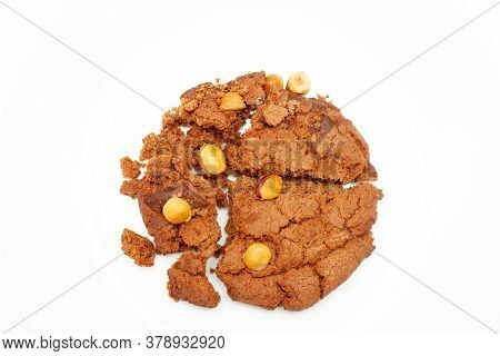 Broken Oatmeal Chip Cookies With Walnut. Cookies Broken In Pieces With Crumbs