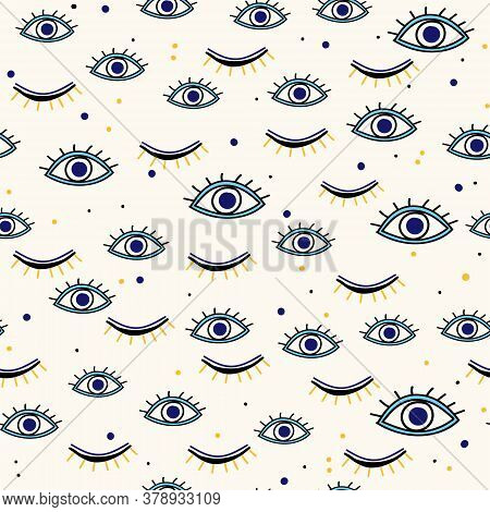 Various Evil Eyes Hand Drawn Talismans Seamless Pattern For Protection And Good Luck. Contemporary M