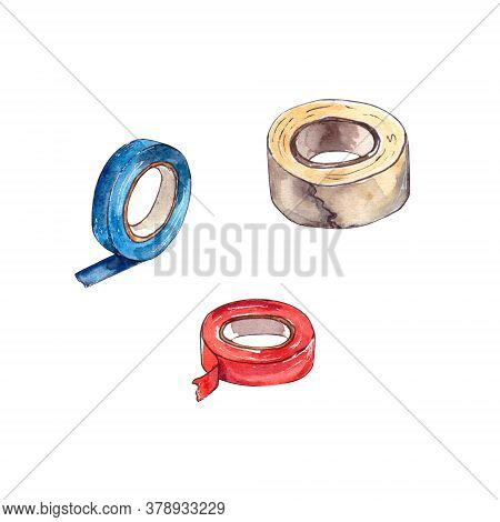 Watercolor Illustration.home Repair Tools On The Inside, A Set Of Insulation Tape In Different Color