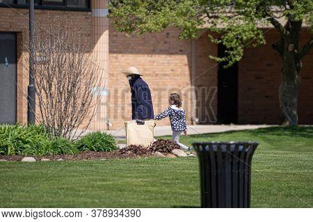 Harrison Township, Michigan / USA - May 10 -2020: Michigan Metro Park activity   during the Corona V