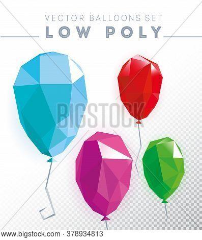 Low Poly Balloon Design Template. Abstract Polygonal Balloon. Balloon Symbol.