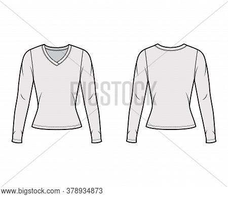V-neck Jersey Sweater Technical Fashion Illustration With Long Sleeves, Close-fitting Shape. Flat Ou