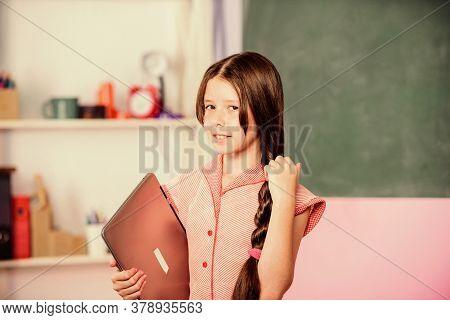 Little Child Using Notebook. Develop Own Blog. Personal Blog. Study Programming Web Design. Social N
