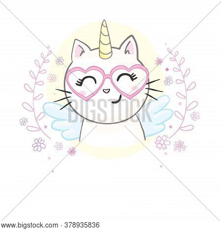 Cute Image Of A Lying Cat With A Horn Unicorn. It Can Be Used For Sticker, Patch, Phone Case, Poster