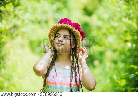 Supporter Of Environment. Happy Childhood. Beautiful Girl With Flowers. Little Girl Hold Pink Fresh