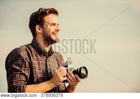 Head In The Clouds. Macho Man With Camera. Travel With Camera. Male Fashion Style. Looking Trendy. S